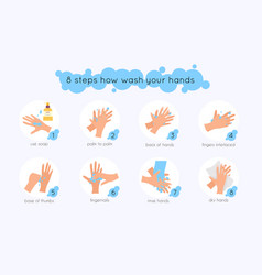 8 steps to properly wash your hands flat design vector