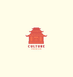 Asian home culture monument vintage logo icon vector