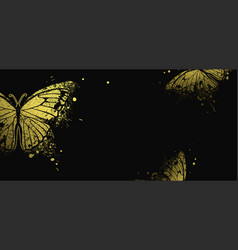 banner with golden decorative butterflies vector image