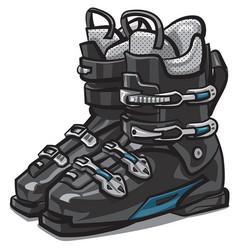 Black ski boots vector