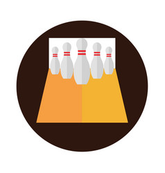 Bowling alley with pins game recreational sport vector