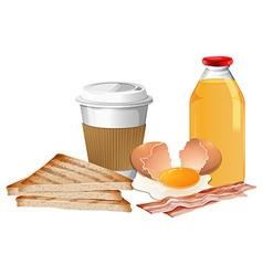 Breakfast set with break and juice vector