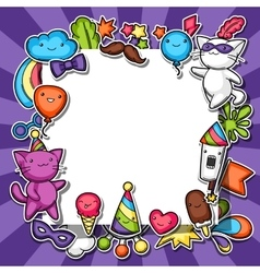 Carnival party kawaii background Cute sticker vector