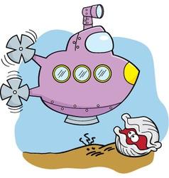 Cartoon submarine and clam vector