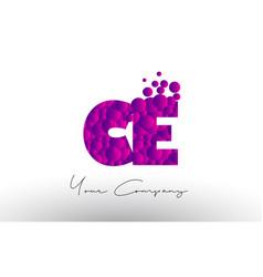 Ce c e dots letter logo with purple bubbles vector