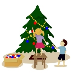 Children decorate Christmas tree vector