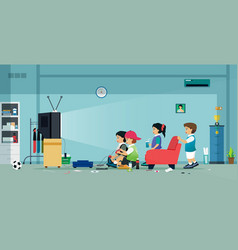 Children playing video games vector