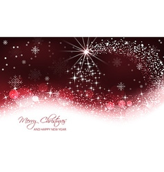 Christmas background christmas tree and snow wave vector