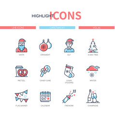 christmas symbols - line design style icons set vector image