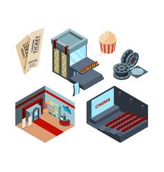 cinema stage isometric inside interior movie vector image