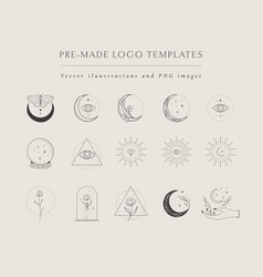 collection hand drawn logo designs templates vector image