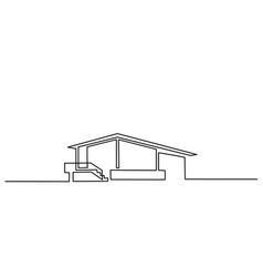 Continuous one line drawing modern house logo vector