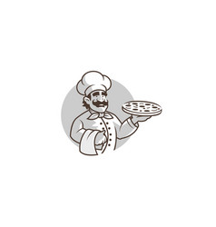 creative chef holding pizza logo vector image