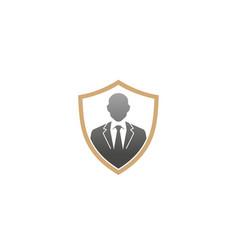 creative gentelman tuxedo shield logo design vector image