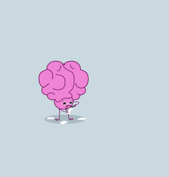 Cute human brain holding magnifier zoom analyzing vector