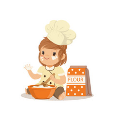 Cute smiling little girl chef with bowl and whisk vector