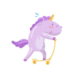 cute unicorn character riding kick scooter funny vector image