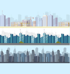 Drawing image collection of cityscape sets vector