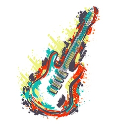 electric guitar hand drawn grunge style art vector image vector image