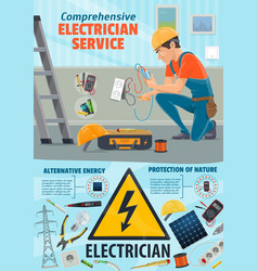 Electricity repair service electrician worker vector