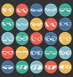 Eyeglasses icons set on colro circles black vector