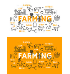 Farming line art posters for farm animals and food vector