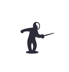 fencing icon attacking fencer with sword vector image