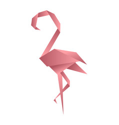 flamingo origami low poly style polygonal mosaic vector image