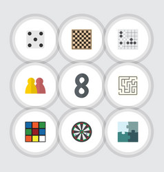 Flat icon games set of labyrinth gomoku chess vector