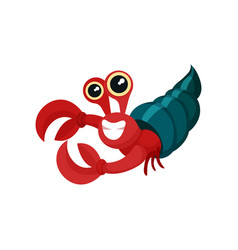 Flat icon of red hermit crab with shell vector