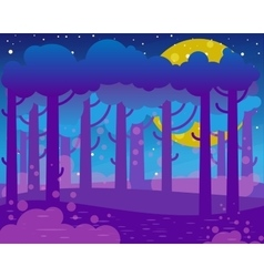 Flat night landscape with big moon and forest vector image