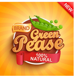 fresh green pease logo label or sticker vector image