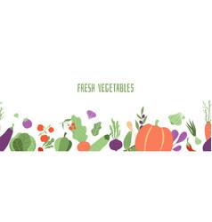 fresh vegetables banner farming seamless pattern vector image