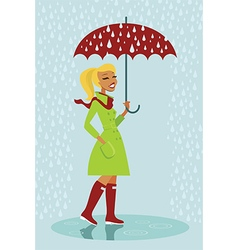 Girl under rain vector