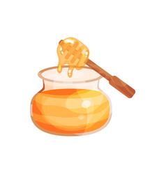 glass jar of honey with wooden dipper cartoon vector image