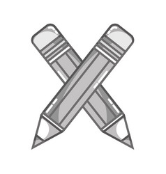 Grayscale pencils school tool object design vector