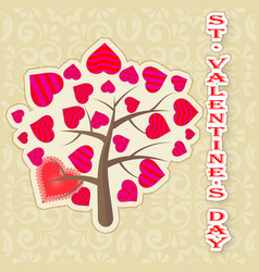 Greeting card happy valentines day tree with vector