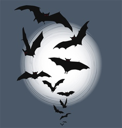 Halloween background - bats in full moon vector image