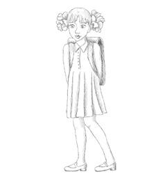 Hand drawn schoolgirl with backpack sketch vector image