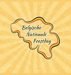 Happy belgian national day greeting card for 21 vector