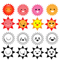 happy cartoon sun on white background vector image