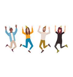 happy men and women celebrating birthday vector image