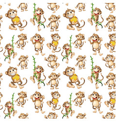 happy monkey seamless pattern vector image