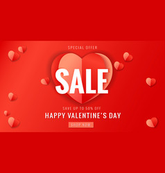 happy valentines day sale banner with red heart vector image