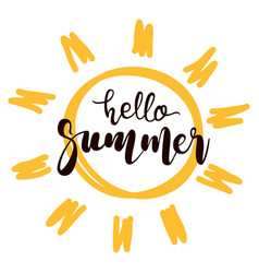 hello summer text with sun symbol vector image