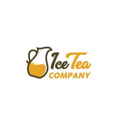 herbal drink golden tea pot logo design vector image