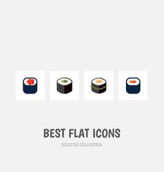 Icon flat maki set of gourmet oriental sashimi vector