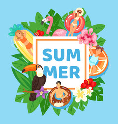 inscription summer on gift card background exotic vector image
