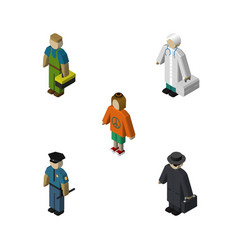 isometric people set of detective lady plumber vector image