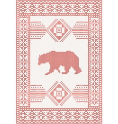 Knitted pattern with bear vector